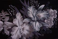 La textura de la tela de la impresión rayó la flor para el fondo Foto de archivo libre de regalías