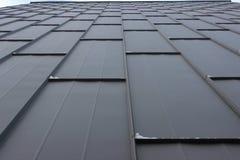 La textura de las hojas del hierro, la perspectiva del cielo la decoración moderna de la fachada, fondo fotografía de archivo