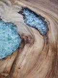La textura de madera adornó el vidrio Foto de archivo