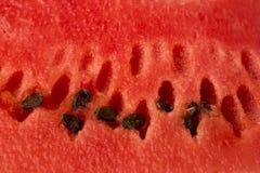 La textura de la sandía madura, roja con las semillas Fotografía de archivo