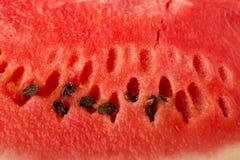 La textura de la sandía madura, roja con las semillas Primer Foto de archivo libre de regalías