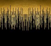 La textura del oro alinea la decoración en el fondo negro Modelo inconsútil horizontal stock de ilustración