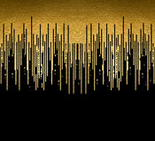 La textura del oro alinea la decoración en el fondo negro Modelo inconsútil horizontal Imagenes de archivo