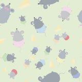 La textura inconsútil de los niños con los ratones Imagen de archivo libre de regalías