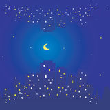La textura inconsútil del cielo de la ciudad de la noche protagoniza y luna Edificios y luz en ventanas Foto de archivo libre de regalías