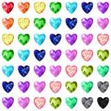La textura inconsútil del corazón coloreado cortó las gemas aisladas en el CCB blanco Fotos de archivo libres de regalías