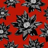 La textura inconsútil del lirio florece en negro en un fondo rojo Foto de archivo