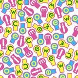 La textura inconsútil, fondo compuso de etiquetas de los símbolos en diversos colores y letras Fotografía de archivo libre de regalías