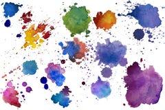 La textura multicolora del chapoteo de la acuarela borra el fondo aislado Gota dibujada mano, punto y gotitas del Grunge Salpicad ilustración del vector