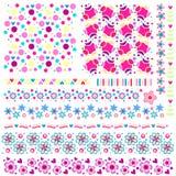 La textura y el ajuste fijaron con las flores y los corazones ilustración del vector