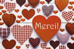 La texture de coeur de Brown avec des moyens de Merci vous remercient Image stock