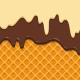 La texture de gaufre de modèle fond l'égoutture de crème glacée de givrage Cône croustillant de filets de chocolat de crème brill illustration libre de droits