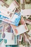 La texture des billets de banque Argent russe, macro haut étroit de billet de banque, fin d'argent de rouble  image stock