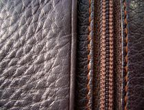 La texture du cuir Cuir de Brown photos libres de droits
