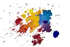 La texture multicolore d'éclaboussure d'aquarelle éponge le fond d'isolement Goutte tirée par la main grunge, tache et gouttelett illustration libre de droits