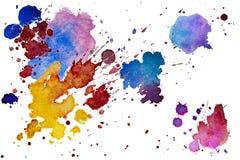 La texture multicolore d'éclaboussure d'aquarelle éponge le fond d'isolement Goutte tirée par la main grunge, tache et gouttelett illustration stock
