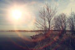La texture opacifie le bleu d'éternité de coucher du soleil Photos stock