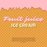 La texture sans couture de gaufre de modèle fond l'égoutture de crème glacée de givrage Cône croustillant de filets de chocolat d illustration de vecteur