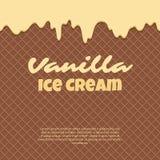 La texture sans couture de gaufre de modèle fond l'égoutture de crème glacée de givrage Cône croustillant de filets de chocolat d illustration libre de droits