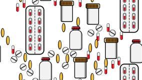 La texture sans couture de modèle de la dragée répétitive sans fin de pilules de comprimés de médecine capsule des boîtes de disq illustration libre de droits