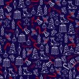 La texture sans couture de Noël avec les objets de Noël faits dans la le-main a peint le style Photo stock