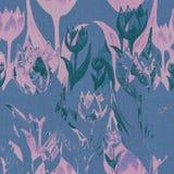 La texture sans couture romantique de tissu avec la tulipe rose et bleue fleurit Photo libre de droits