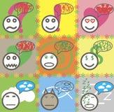 La texture sans couture souriante de bande dessinée fait face à des griffonnages Photos libres de droits