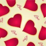 La texture sans couture Valentine heureux a doré le vecteur de vintage de coeur Images libres de droits
