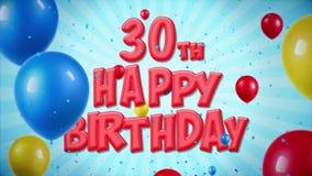 la 0th salutation rouge et les souhaits de joyeux anniversaire avec des ballons, confettis ont fait une boucle le mouvement illustration libre de droits