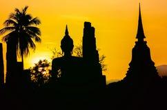 La Thaïlande, coucher du soleil de Sukhotha Bouddha Image libre de droits