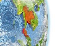 La Thaïlande en rouge sur terre illustration de vecteur