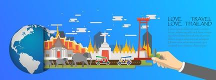 La Thaïlande infographic, global avec des points de repère de Bangkok, plats Photos libres de droits