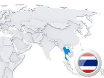 La Thaïlande sur la carte de l'Asie illustration stock