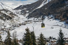Gondola lift at ski resort in winter with copy space - La Thuile, Valle d`Aosta, Italy stock photo