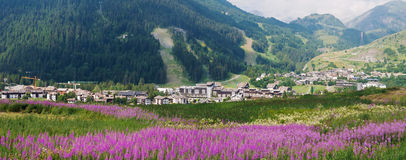 La Thuile, panoramic view Royalty Free Stock Photo