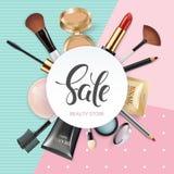 La tienda de la belleza de la plantilla del maquillaje con la colección de cosméticos decorativos y de maquillaje de la belleza r Fotografía de archivo libre de regalías