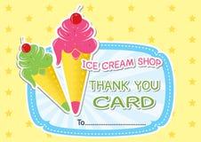 La tienda de helado le agradece cardar. Fotos de archivo