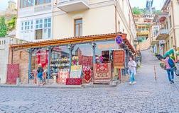 La tienda de la alfombra en Tbilisi Fotografía de archivo