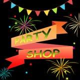 La tienda del partido significa el ejemplo de las fuentes 3d de los partidos stock de ilustración