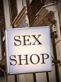 La tienda genérica del sexo firma adentro Amsterdam Foto de archivo libre de regalías