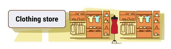 La tienda grande de la moda no vacia a nadie bosquejo colorido interior del centro comercial femenino de la ropa del concepto de  ilustración del vector