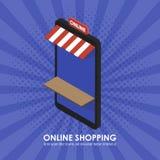La tienda isométrica del teléfono del concepto que hace compras en línea Imágenes de archivo libres de regalías