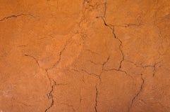 La tierra agrietada y estéril, suelo seco texturizó el fondo, la forma de capas del suelo, su color y texturas Fotos de archivo libres de regalías