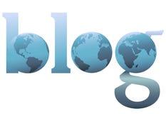 La tierra azul grande del World Wide Web del blog del conjunto stock de ilustración