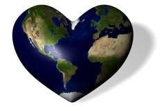 La tierra bajo la forma de corazón ilustración del vector