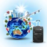 La tierra con los edificios, el aeroplano y el viaje empaquetan stock de ilustración
