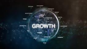 La tierra de la tecnología de la palabra del espacio fijó con crecimiento en foco Ejemplo orientado financiero futurista de la nu imagenes de archivo