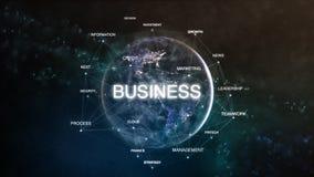 La tierra de la tecnología de la palabra del espacio fijó con negocio en foco Ejemplo orientado financiero futurista de la nube 3 stock de ilustración