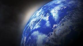 La tierra del planeta en espacio gira alrededor del sol
