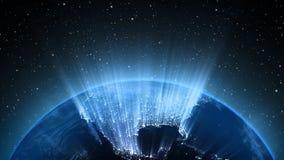 La tierra del planeta en universo o espacio, la tierra y la galaxia en una nebulosa se nublan Fotografía de archivo